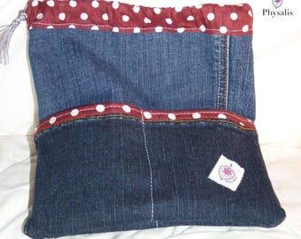 "Pouch ""Pantapochette"", blue jean fabric"