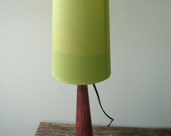 """Purple"" with big green shade lamp"