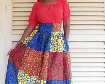 Set top and maxi skirt in African print patchwork