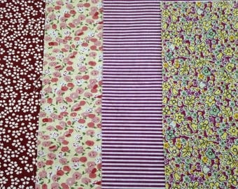 Lot 4 coupons fabric patchwork 20/25 cm