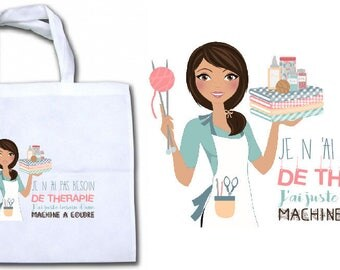 """INTISSEE canvas tote bag """"I don't need therapy... just for a sewing machine"""" personalized"""