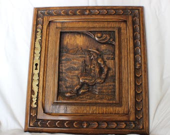 Hand carved vintage French Breton cupboard dresser right hand side door