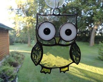 Stained Glass Gray Owl Suncatcher