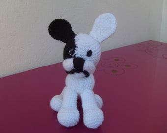 dog black and white crochet wool