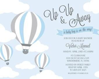 Hot Air Balloons Baby Shower Invitations Boy Up Up and Away Baby Shower Invitations Baby Shower Invites Hot Air Balloon
