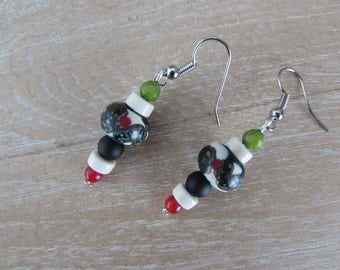 "Silver earrings, Lampwork bead and natural stones ""Klimt"""