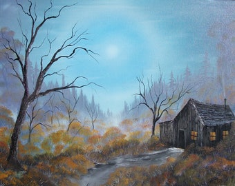"Cool Morning Cabin - Original, Oil Painting on Canvas, 16"" x 20"""