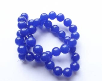 Blue jade colored 10 mm JBRL 0507 40 beads