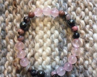 Rose Quartz, Rhodonite and Hematite Beaded Stretch Bracelet