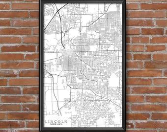 Lincoln, Nebraska Map Art