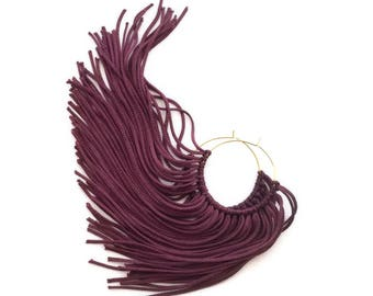 Fringe Hoops | Purple Fringe | Fringe Trim | Tassel Earrings | Chandelier Earrings | Fringe Jewelry | Tassel Jewelry | Gold Ear Wires