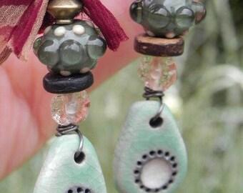 Earrings ceramic glass silk and wood