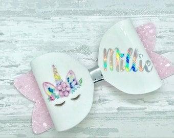 Personalised unicorn hair bow, unicorn hair clip, pink glitter hair bow, unicorn headband, personalized hair bow, personalised birthday