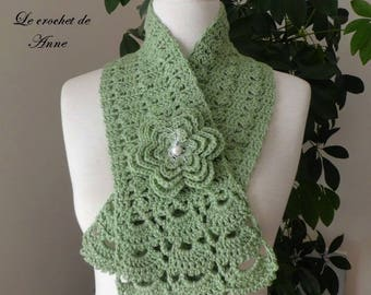 Adorned with a flower, lime green scarf brooch!