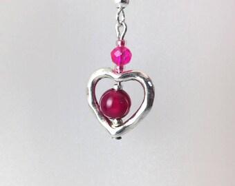 Heart frame in silver, fuchsia pink red agate bead earrings