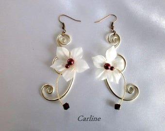 Noelie - Flowers silk ivory Burgundy crystal earrings