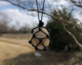 Banded Agate Macrame Crystal Necklace