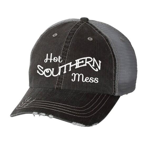 b6efbbc99a0 hot southern mess distressed ladies baseball hat mesh trucker country  lyrics song fu... ETSY