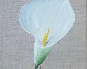 Painting on linen with flower ' Arum 20 x 20 cm