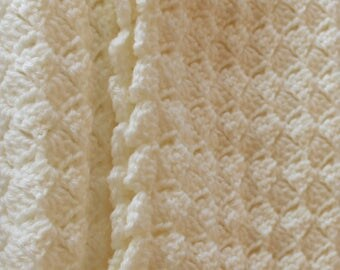 Cream Crochet Baby Blanket solid color baby shower gift for boy or girl