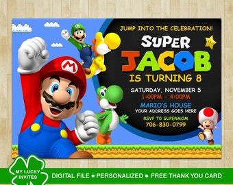 Super Mario Invitation, Super Mario Birthday, Super Mario Party, Super Mario Birthday Invitation, Super Mario