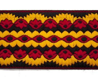 Black/Red 6 cm x 50 cm yellow Jacquard Ribbon