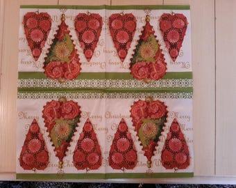 Christmas themed paper napkins set of 2