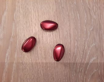 Set of 3 beautiful glass oval beads
