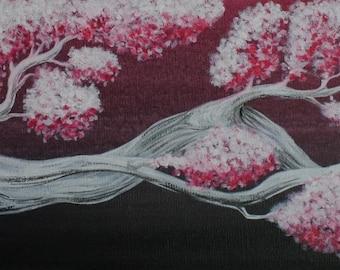 Tableau Peinture Acrylique Asiatique Branche de Cerisier Sakura Rouge et Noir