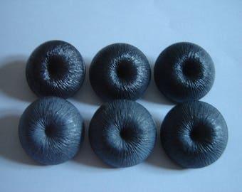 6 big buttons antique grey & Black / / 30 MM