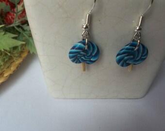 Blue block lollipop polymer clay earring