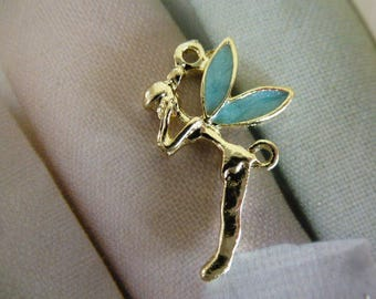 Pendant light green enameled wings Golden Fairy Elf for jewelry making