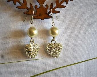 Rhinestone and Pearl Heart pendant earrings glass Pearl on hook 47 cm