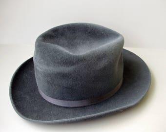 Antique,1930s, ,unused,Hungarian Classic Fedora Hat; Rabbit Fur Felt Trilby Elegant Winter Bogart hat