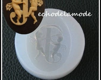 "1 to 40 mm X 30 mm embellishment cameo silicone mold letter ""J"""