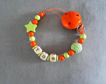 Pacifier Orange & lime green baby