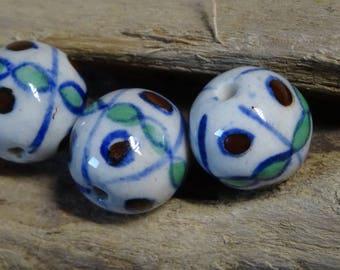 3 handmade 15mm ceramic round beads