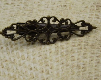 2 support filigreed metal hair clip barrette bronze 57mm