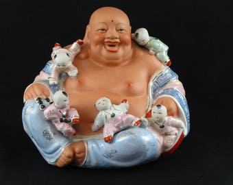 Large Chinese Laughing Ho Tei Happy Buddha With Children Hand Painted