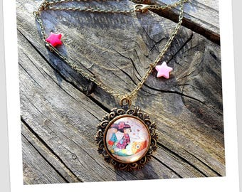 """""""Japanese children on Rainbow fish"""" necklace brass jewelry fancy cabochon"""