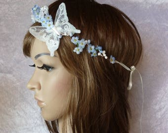 Bridal, headband wreath of flowers blues