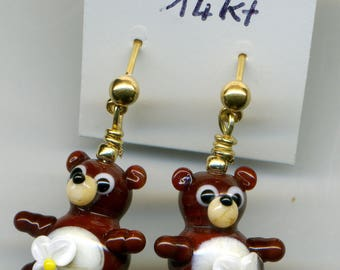 """Mrs brown bear the"" 14KT gold plated earrings"