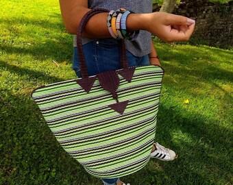 Tote bag braided Senegalese - Brown, green - SENSAC18