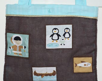 """Quilted and lined bag for child, """"ice"""", inside pocket"""