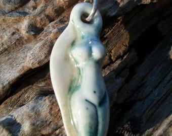 goddess pendant ~ green/cream