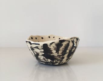 Handmade dot and brush free form bowl