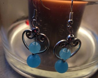 Earrings blue turquoise beads and silver color heart shape metal charm