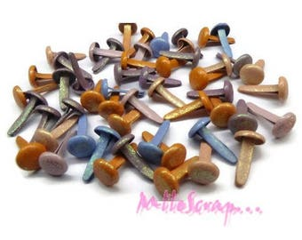 Set of 50 brads multicoloured shiny embellishment scrapbooking card making (ref.410) *.