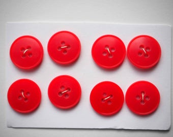 8 red buttons Orange synthetic 18 mm for shirt or vest or scrapbooking