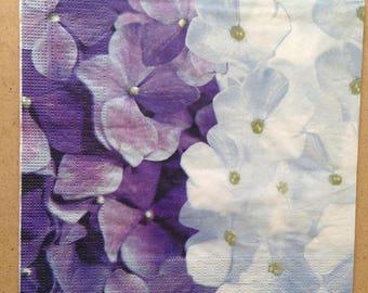 "Paper flower theme towel ""Blue hydrangeas"""